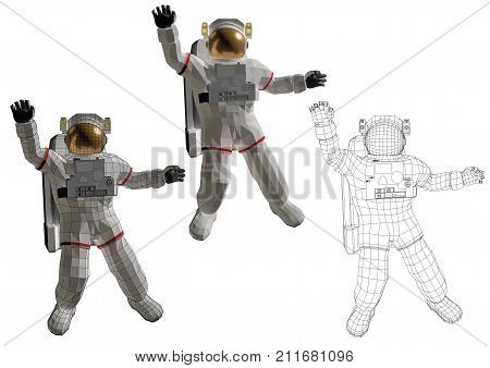 Astronaut Floating In The Space With Open Arms