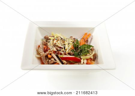 Beef with pepper, eggplant, Peking cabbage, sprinkled with spices and sesame