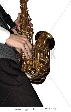 Playing Shiny Saxophone (isolated)