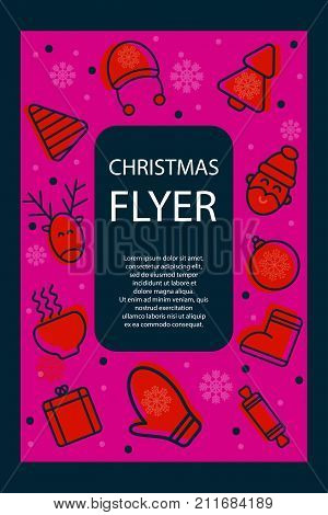 Christmas poster. Christmas card flyer invitation with icons - deer tree santa. Stock vector