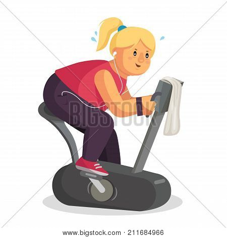 Fat Woman In Gym Vector. Female Running On Treadmill. Exercise Bike. Fitness Girl Training. Obese Woman Running On Treadmill. Isolated Flat Cartoon Character Illustration