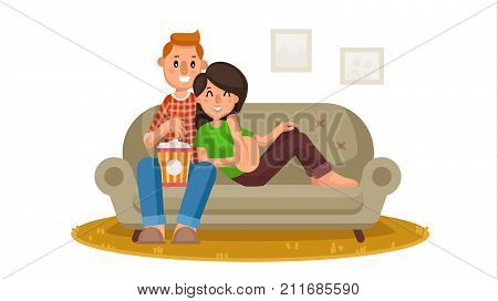 Happy Family Watching Television Vector. Person Sitting On The Couch And Relaxing At Home. Family Leisure. Online Home Cinema. Isolated Flat Cartoon Character