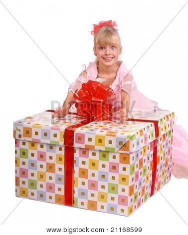 Girl  and big gift box.