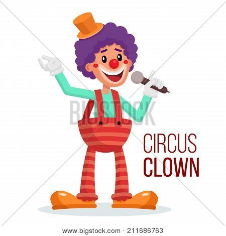 Happy Clown Vector. Circus Action Performer. Vintage Style. Isolated Flat Cartoon Character Illustration