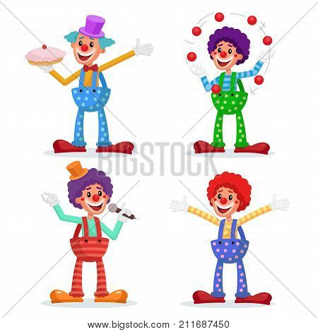 Circus Clowns Set Vector. Performance For Hilarious Laughing People. Amazing Public Circus Show. Man Juggling Balls. Isolated On White Cartoon Character