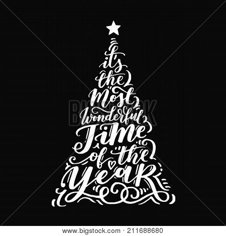 Vector Christmas Vintage Tree Of Holidays Lettering On Black Background. Merry Christmas Text For In