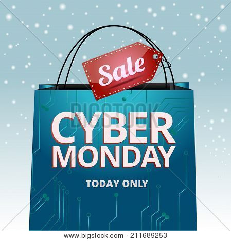 Cyber Monday design, a package with an inscription and tag sale on a snowy background, vector graphics for the site