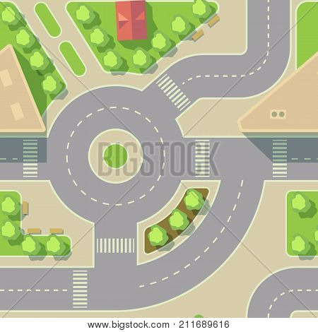 Vector background road intercharge and round. Traffic urban city road illustration