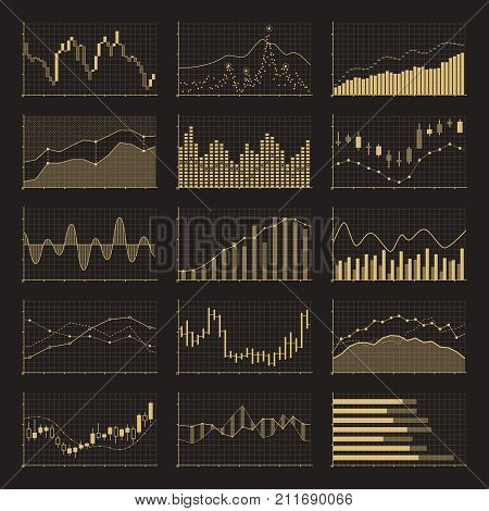 Business data financial charts. Stock analysis graphics market on black background. Vector illustration