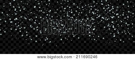 White tender snow falling over wide dark transparent background vector illustration. Winter snowfall texture. White falling snow, vector. Vector snow background isolated.