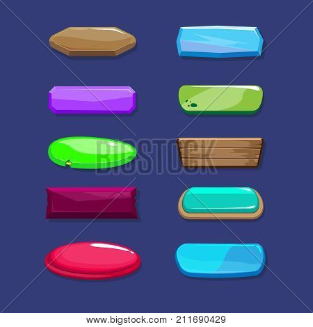 Funny cartoon buttons long horizontal set of buttons vector assets for game or web design different colors and buttons designs
