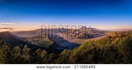 Mount Bromo volcano (Gunung Bromo) on blue sky background in Bromo Tengger Semeru National Park East Java Indonesia.