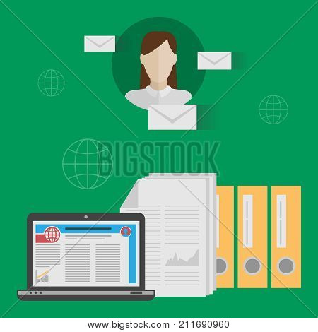 Vector concepts of email marketing e-mail. Dockets of documents, folders, letters on a green background