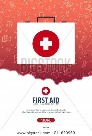 First Aid. Medical Poster. Health Care. Vector Medicine Illustration.