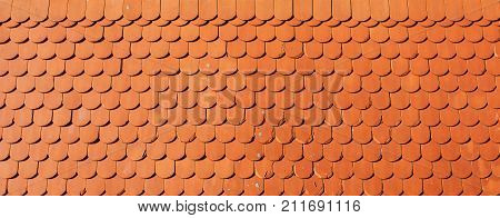 Roof tile texture orange retro styled tiles as background