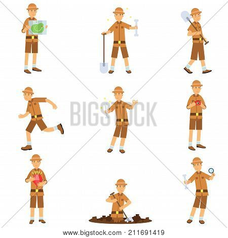Set of archaeologist character actions. Treasure hunter in safari suit and hat. Traveler reading walking with shovel, digging, running, studying. Excavations and archaeology. Flat cartoon vector.