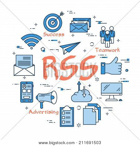 Vector linear blue round concept of Rss, Advertising, successful. Red text Rss in the center and outline icons of reward, like, teamwork
