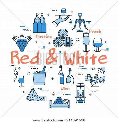 Vector linear blue round concept of Red and White Wine. Thin line icons of grape, viticulture, winemaking and storage of products