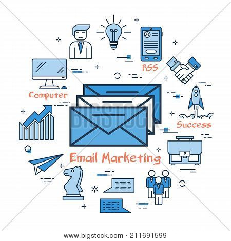 Vector linear blue round concept of E-mail Marketing. Three mail envelopes in the center. Line icons of computer, user, business items, teamwork and start up rocket