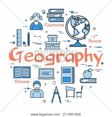 Vector linear blue round concept of Geography Subject. School lesson for children and education line icons of notes, globe, books, ruler and computer