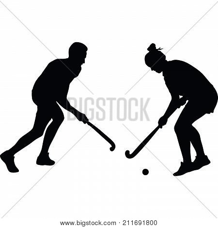 man and woman play field hockey silhouette