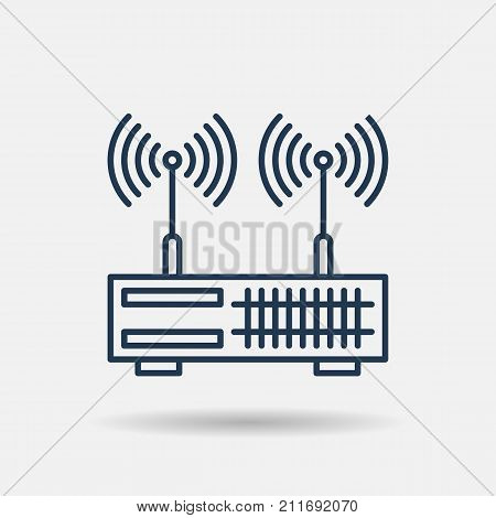 Vector line art dual wan router. Isolated web outline icon on white background. Internet equipment concept.