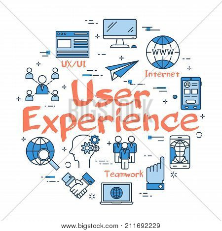 Vector linear blue round concept of User Experience. Design and Development of web site and content