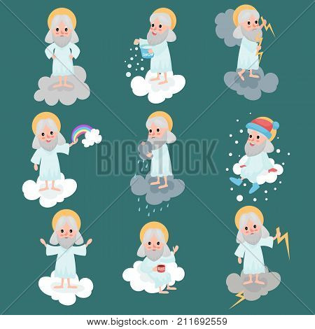 God character in action on cloud. Creator s daily routine. Heaven working days. Angry, drinking tea, creating rainbow, throwing lightnings, throwing snow. Vector for religious card, poster or badges.