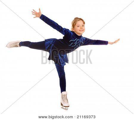 Girl  in blue dress on skates.