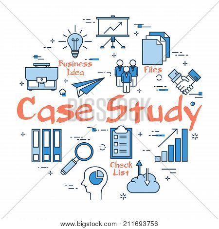 Vector linear blue round concept of Case Study. Data comparison and Research Method with business outline icons