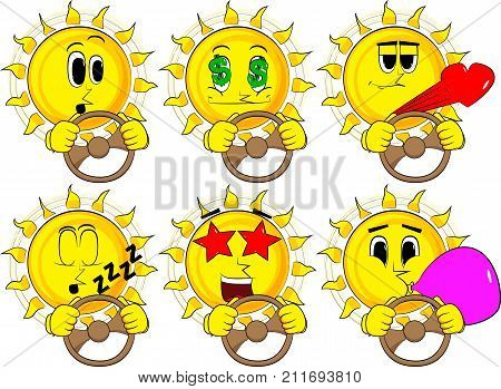 Cartoon sun driving holding a steering wheel. Collection with various facial expressions. Vector set.