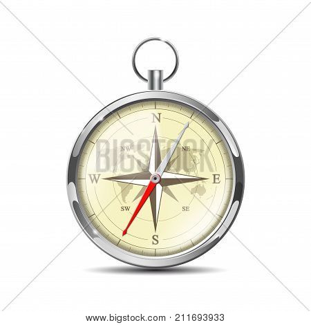 Old realistic navigation compass isolated on white. Glossy Compass with windrose for travel orientation. Vector illustration EPS 10
