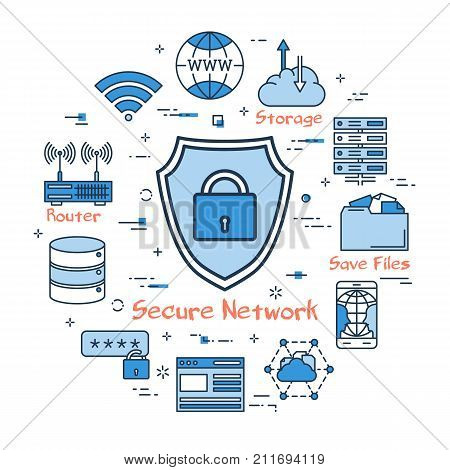 Vector linear blue round concept of Secure Network. Shield with lock in the center. Line icons of internet equipment, server, router, mobile, online cloud storage and browser