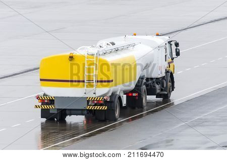Truck With Fuel Tank On Highway, Metal Fuel Tankers Shipping Fuel.