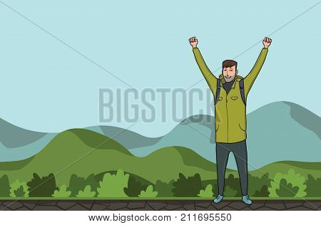A young happy man, backpacker with raised hands in a hilly area. Hiker, Explorer. A symbol of success. Vector Illustration with copy space.