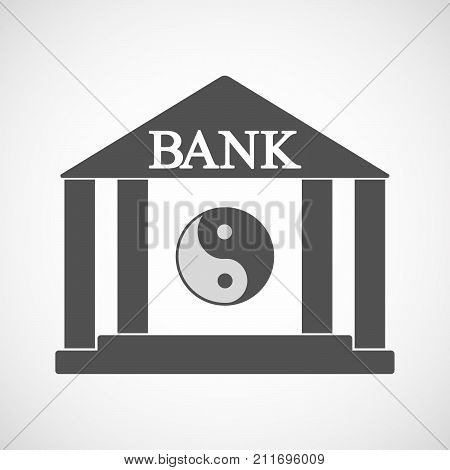 Isolated Bank Icon With A Ying Yang