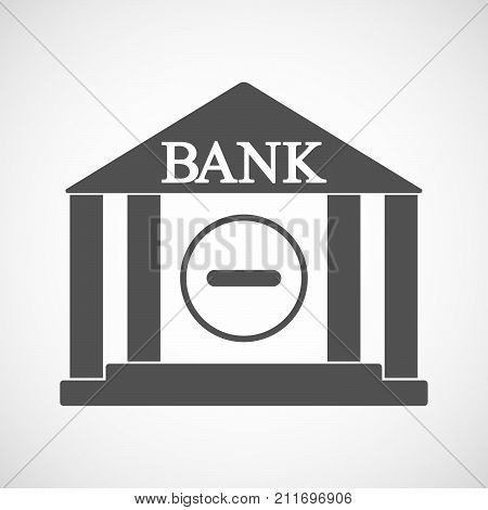 Isolated Bank Icon With A Subtraction Sign