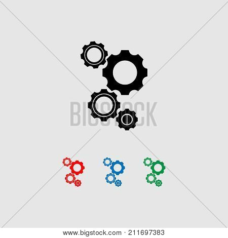 Gears icon vector set in black, gree red and blue colours