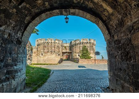Fortress gate with a wooden bridge at Kalemegdan fortress, Belgrade, Serbia