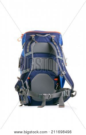 Photo of tourist backpack on white background