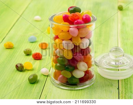 Glass Jar With Lid Filled With Colorful Candies