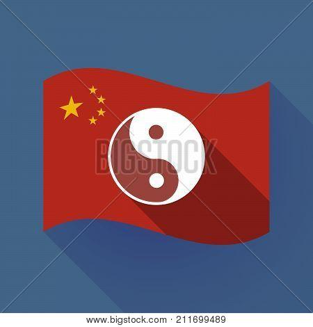 Long Shadow China Flag With A Ying Yang