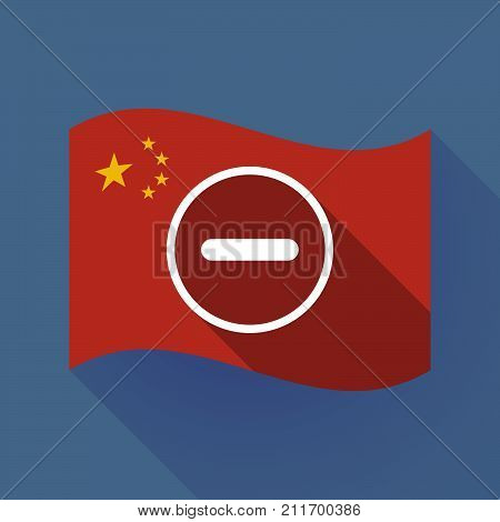 Long Shadow China Flag With A Subtraction Sign
