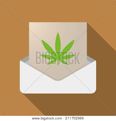 Long Shadow Opened Letter With A Marijuana Leaf