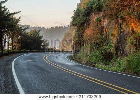 highway 101 in oregon usa by heceta head lighthouse and the sea lion caves