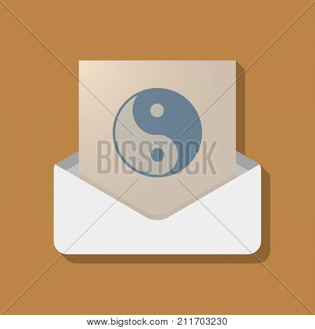 Long Shadow Opened Letter With A Ying Yang