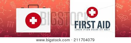 First Aid. Medical Banner. Health Care. Vector Medicine Illustration.