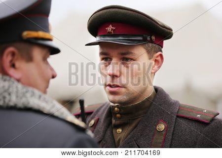 Belarus, Gomel, November 21, 2016, Reconstruction Of The Battle Of The Second World War. Soldat Of T