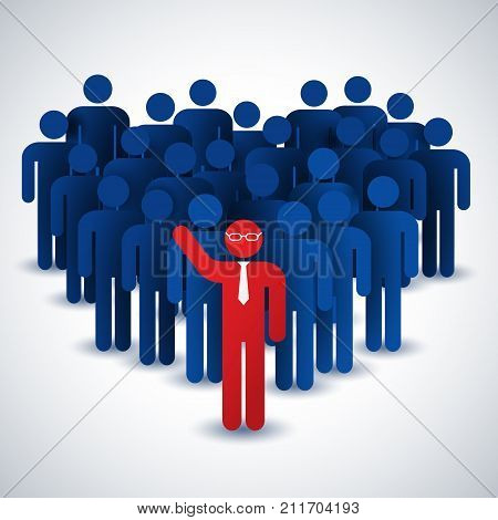 Business people collective concept in blue and red colors flat vector illustration
