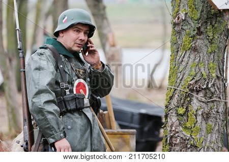 Belarus, Gomel, November 21, 2016, Reconstruction Of The Battle Of The Second World War.soldier Of T